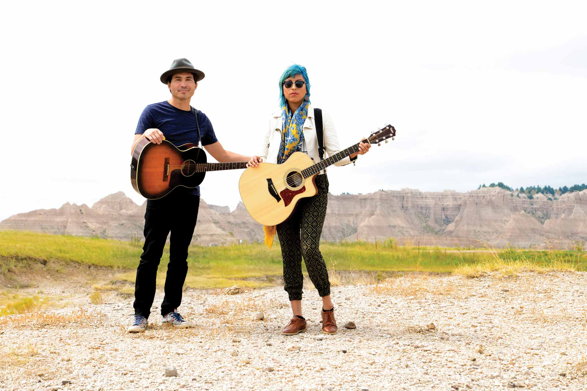 Scotti Clifford (Lakota) and Julianna Brown Eyes (Lakota) of alternative rock band, Scatter Their Own, First Peoples Fund Cultural Capital grantees