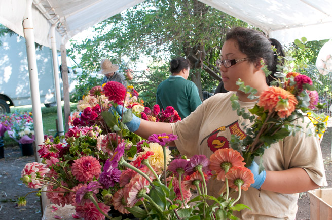 Hmong woman arranging flowers for sale at a Saint Paul farmers market