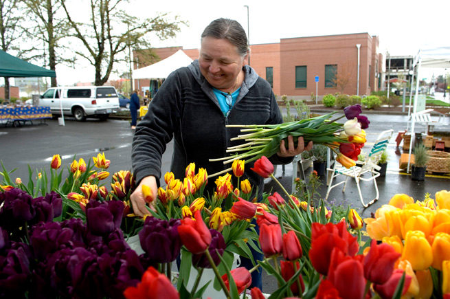 Woman arranging tulips at a farmers market in Independence, Oregon