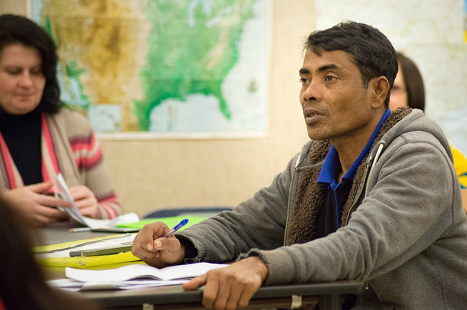 Immigrant man in a classroom