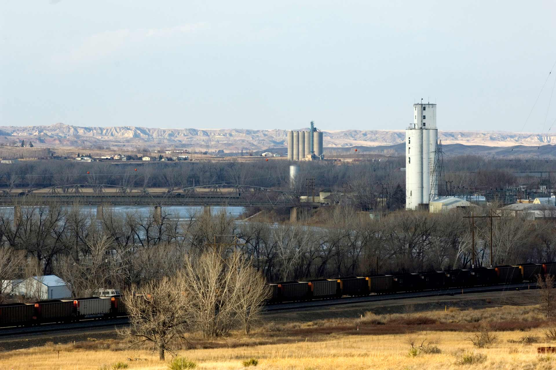 View of Glendive, MT and mountains beyond