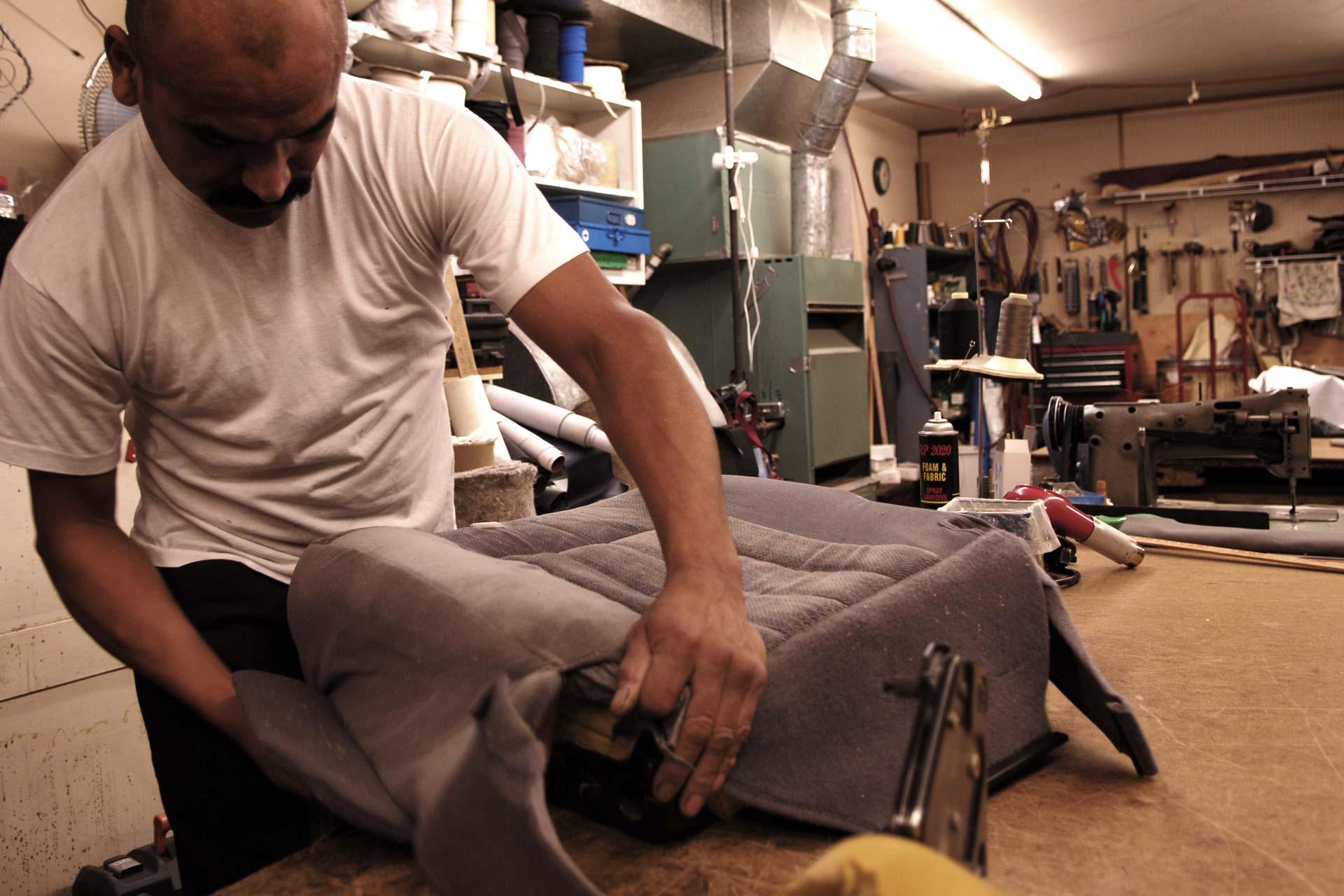 Man working in a car repair shop