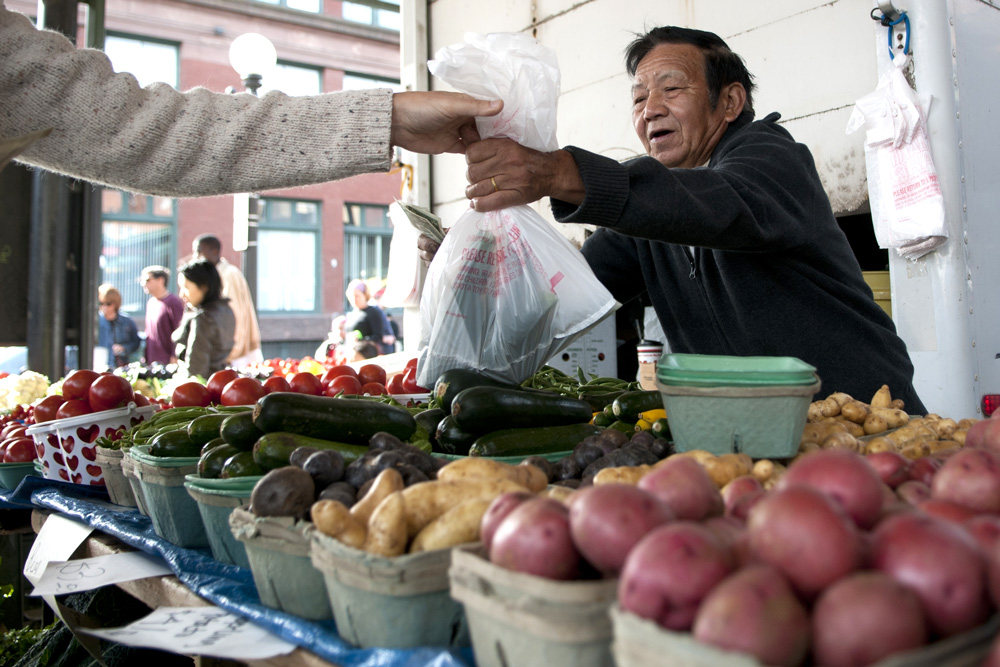 Hmong farmer at St. Paul Farmers market