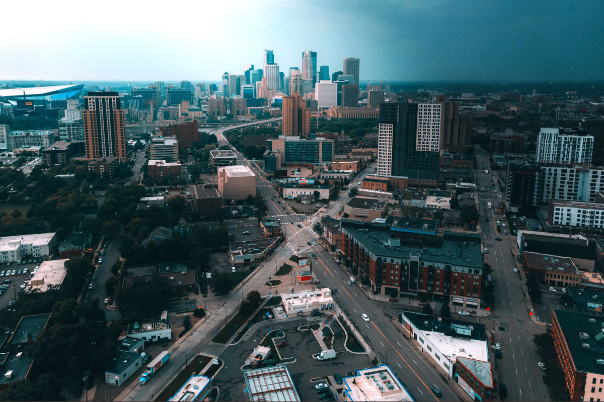 Aerial view of Minneapolis, by Kevin Nalty