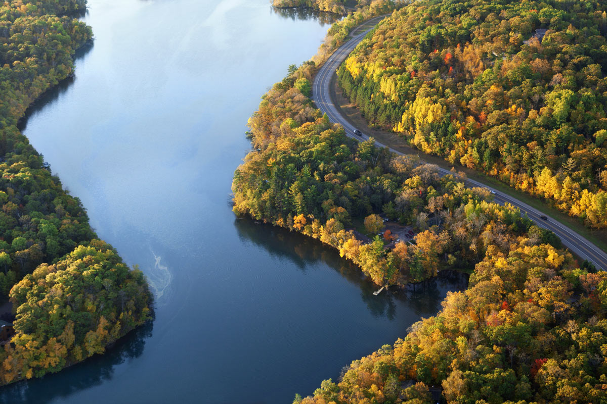 Aerial view of the Mississippi River